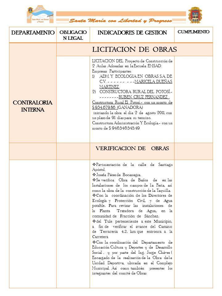 DEPARTAMENTO OBLIGACIO N LEGAL INDICADORES DE GESTION CUMPLIMIENTO CONTRALORIA INTERNA LICITACION DE OBRAS LICITACION DEL Proyecto de Construcción de