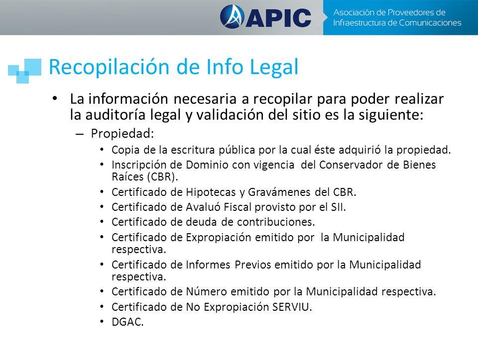 Recopilación de Info Legal La información necesaria a recopilar para poder realizar la auditoría legal y validación del sitio es la siguiente: – Propiedad: Copia de la escritura pública por la cual éste adquirió la propiedad.