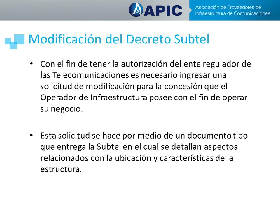 Modificación del Decreto Subtel Con el fin de tener la autorización del ente regulador de las Telecomunicaciones es necesario ingresar una solicitud de modificación para la concesión que el Operador de Infraestructura posee con el fin de operar su negocio.