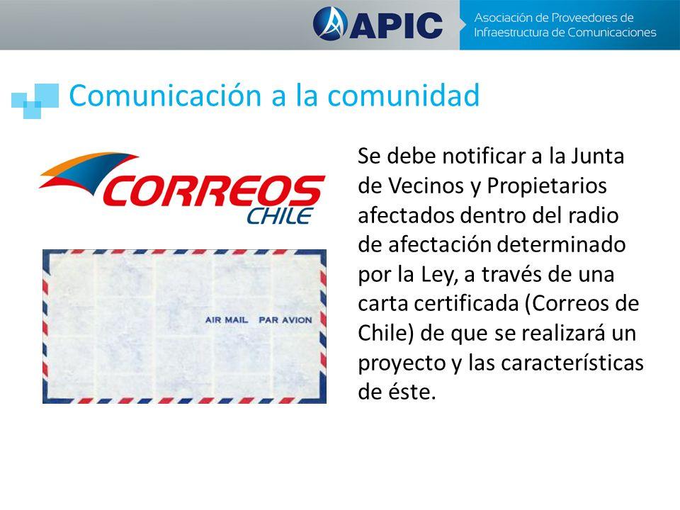 Comunicación a la comunidad Se debe notificar a la Junta de Vecinos y Propietarios afectados dentro del radio de afectación determinado por la Ley, a través de una carta certificada (Correos de Chile) de que se realizará un proyecto y las características de éste.