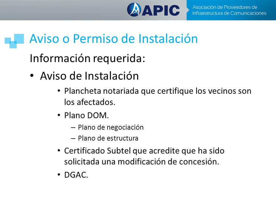 Aviso o Permiso de Instalación Información requerida: Aviso de Instalación Plancheta notariada que certifique los vecinos son los afectados. Plano DOM