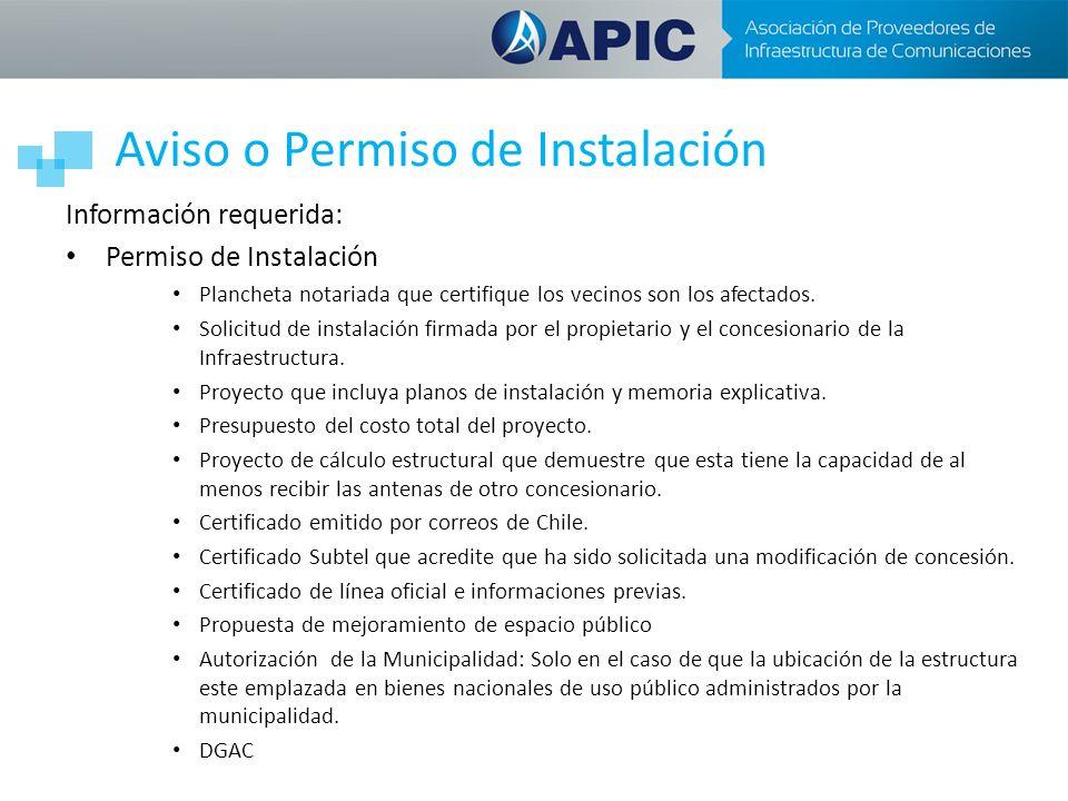 Aviso o Permiso de Instalación Información requerida: Permiso de Instalación Plancheta notariada que certifique los vecinos son los afectados. Solicit