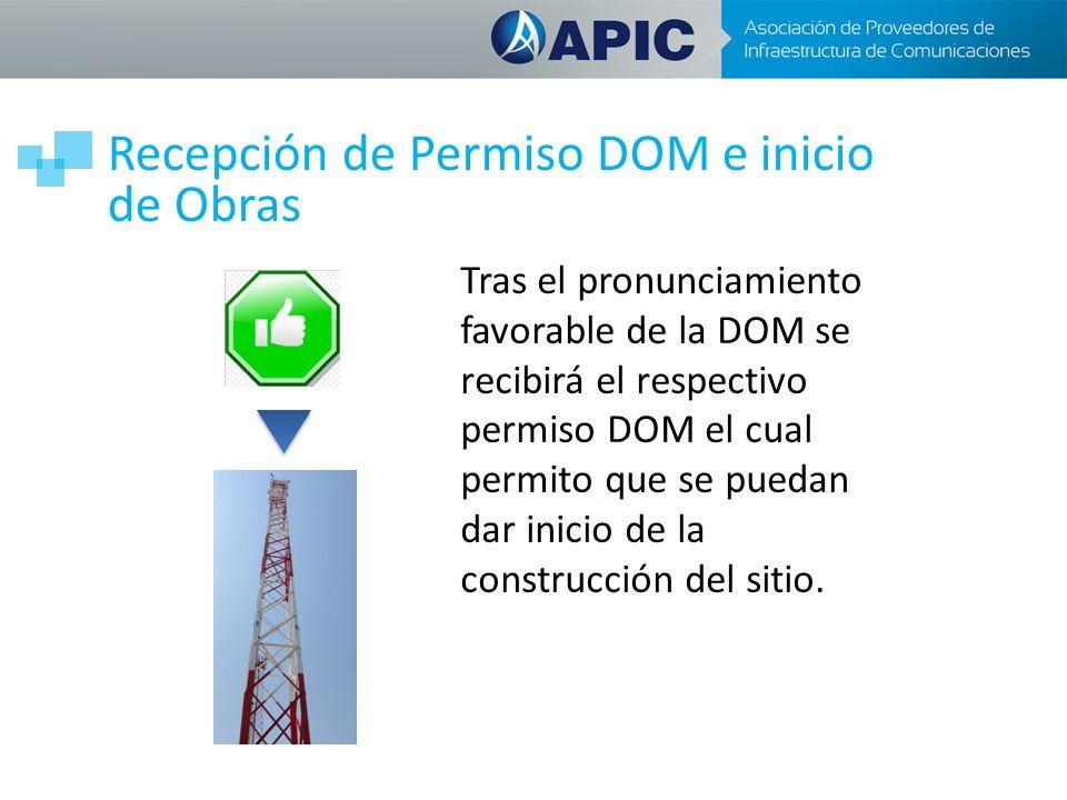 Recepción de Permiso DOM e inicio de Obras Tras el pronunciamiento favorable de la DOM se recibirá el respectivo permiso DOM el cual permito que se puedan dar inicio de la construcción del sitio.