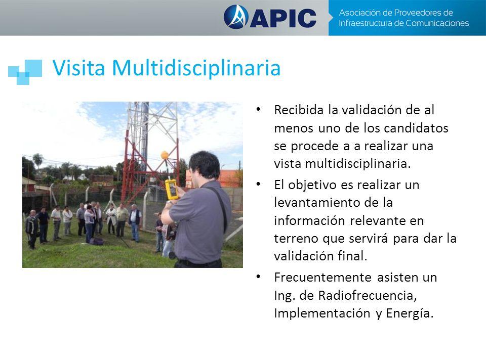 Visita Multidisciplinaria Recibida la validación de al menos uno de los candidatos se procede a a realizar una vista multidisciplinaria. El objetivo e