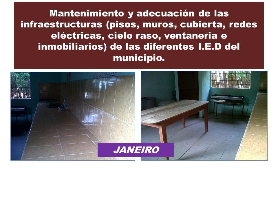 Mantenimiento y adecuación de las infraestructuras (pisos, muros, cubierta, redes eléctricas, cielo raso, ventaneria e inmobiliarios) de las diferentes I.E.D del municipio.