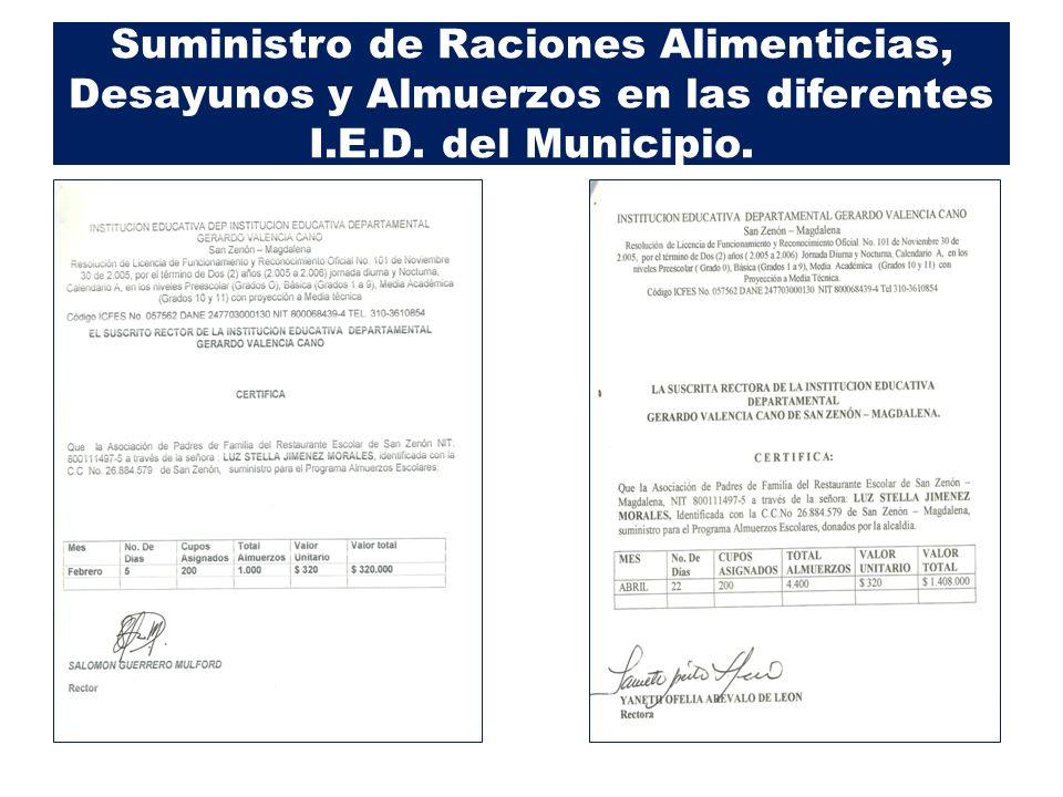 Suministro de Raciones Alimenticias, Desayunos y Almuerzos en las diferentes I.E.D. del Municipio.