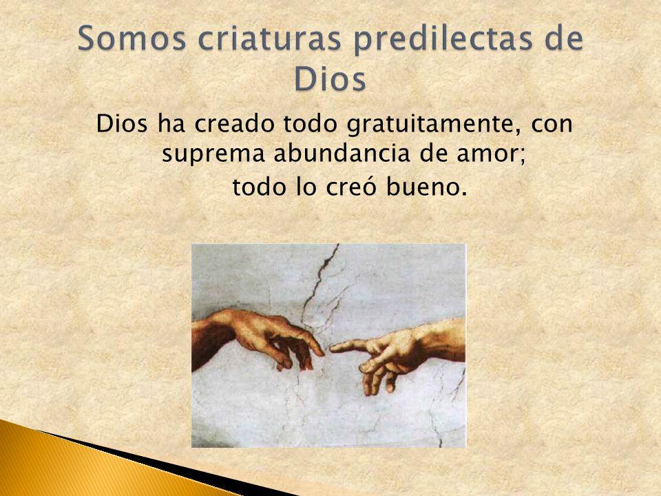 Dios ha creado todo gratuitamente, con suprema abundancia de amor; todo lo creó bueno.