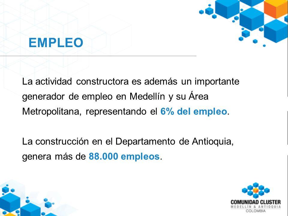 EMPLEO La actividad constructora es además un importante generador de empleo en Medellín y su Área Metropolitana, representando el 6% del empleo.