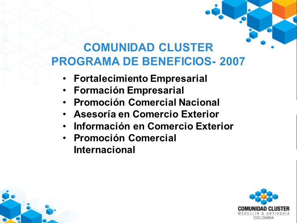 COMUNIDAD CLUSTER PROGRAMA DE BENEFICIOS- 2007 Fortalecimiento Empresarial Formación Empresarial Promoción Comercial Nacional Asesoría en Comercio Exterior Información en Comercio Exterior Promoción Comercial Internacional