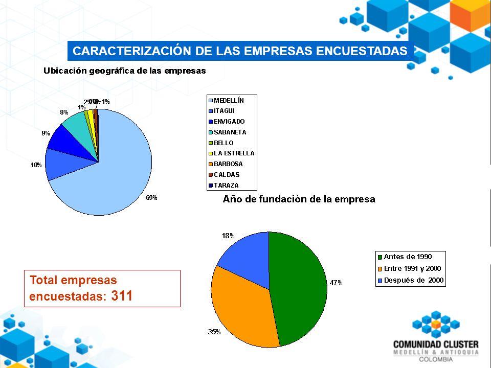 CARACTERIZACIÓN DE LAS EMPRESAS ENCUESTADAS Total empresas encuestadas: 311