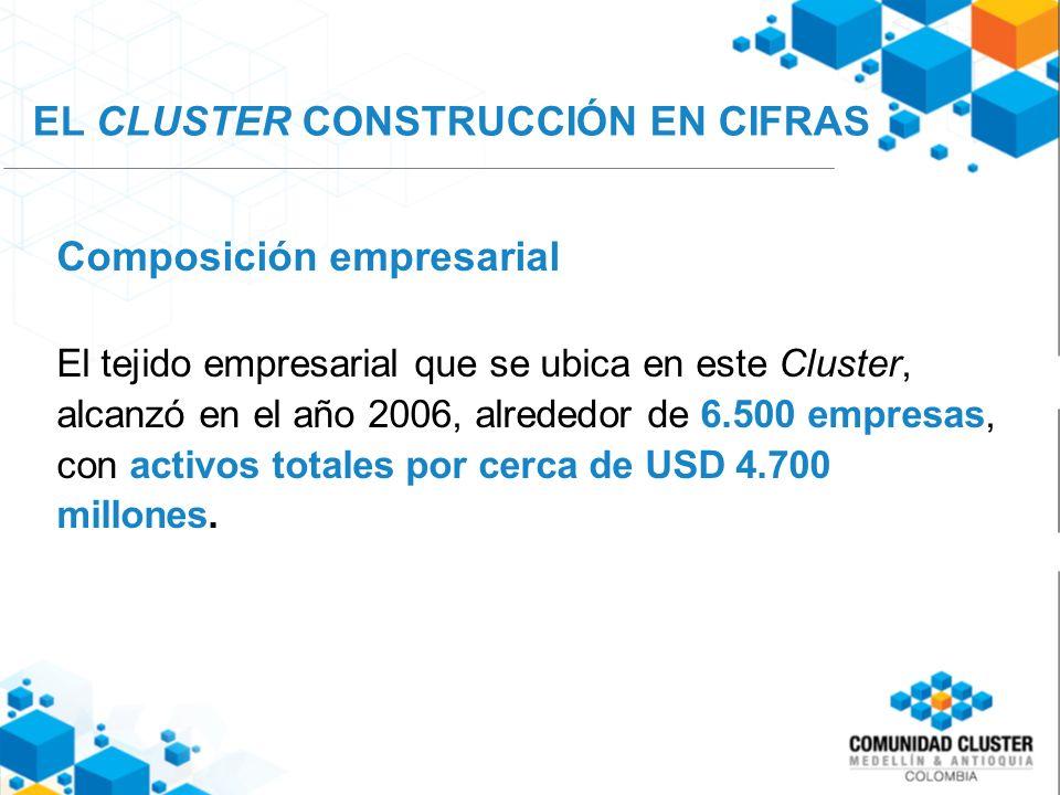 Composición empresarial El tejido empresarial que se ubica en este Cluster, alcanzó en el año 2006, alrededor de 6.500 empresas, con activos totales por cerca de USD 4.700 millones.