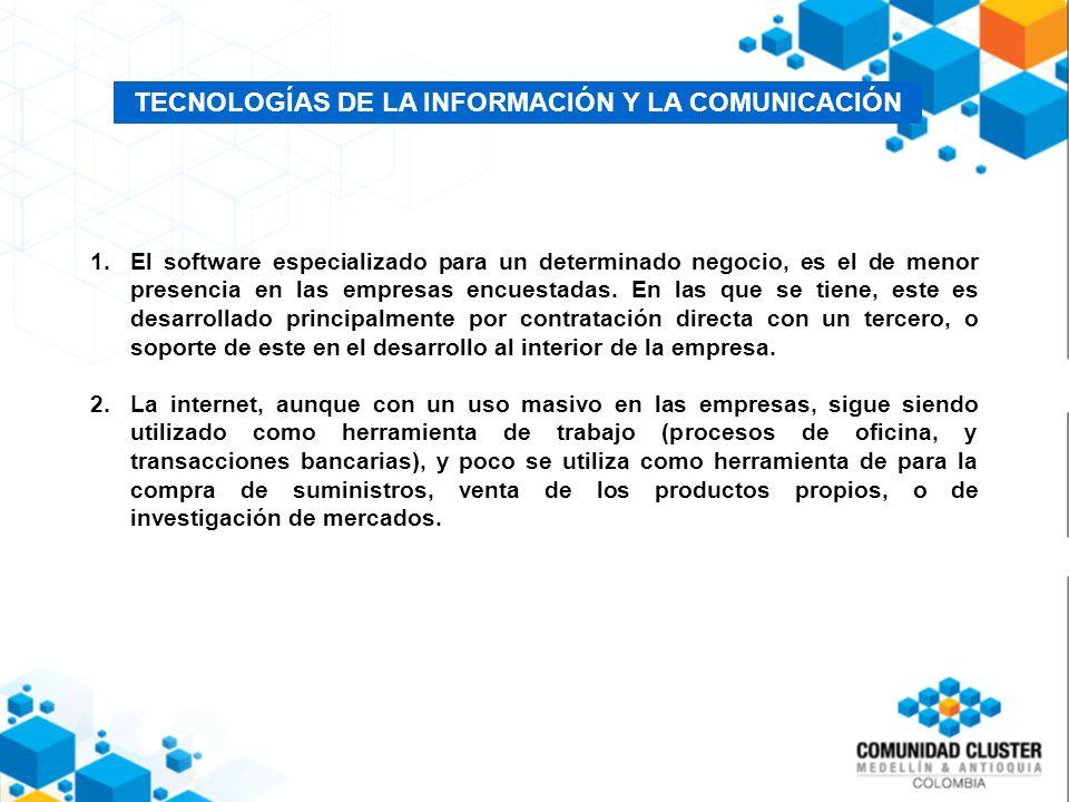 TECNOLOGÍAS DE LA INFORMACIÓN Y LA COMUNICACIÓN 1.El software especializado para un determinado negocio, es el de menor presencia en las empresas encuestadas.