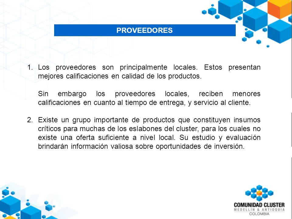 PROVEEDORES 1.Los proveedores son principalmente locales.