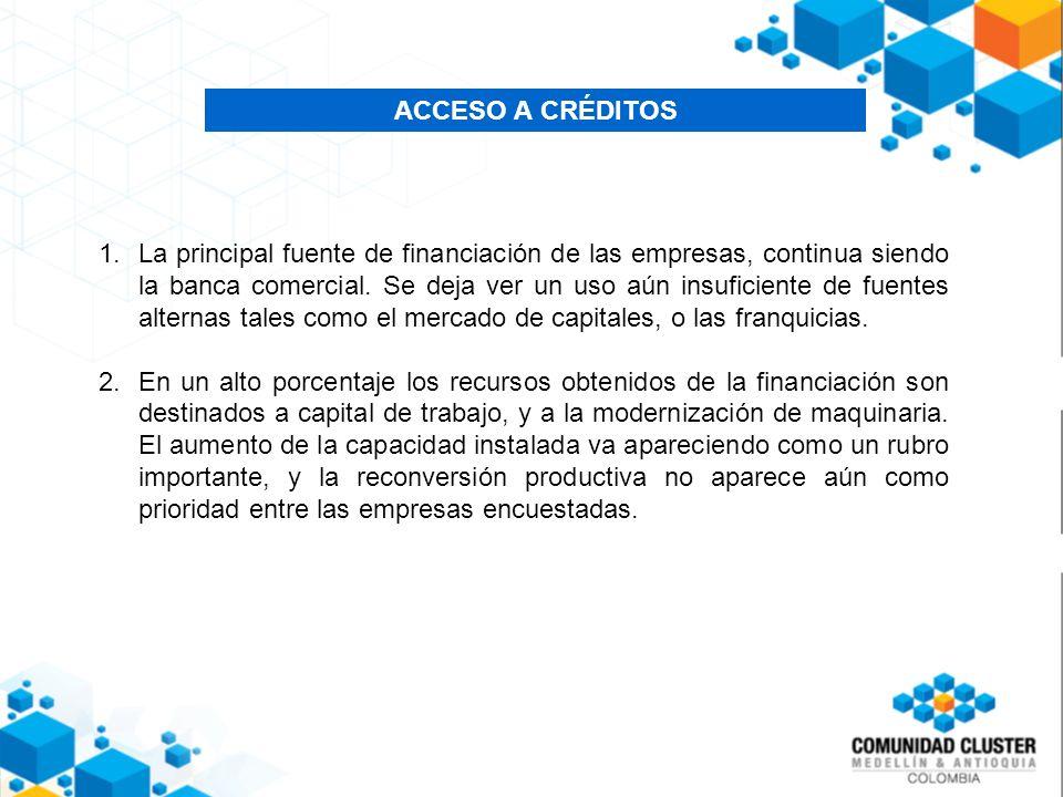 ACCESO A CRÉDITOS 1.La principal fuente de financiación de las empresas, continua siendo la banca comercial.