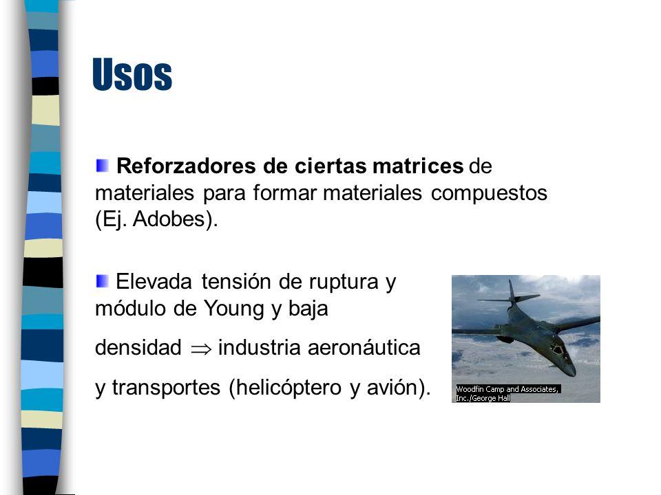 Usos Reforzadores de ciertas matrices de materiales para formar materiales compuestos (Ej.