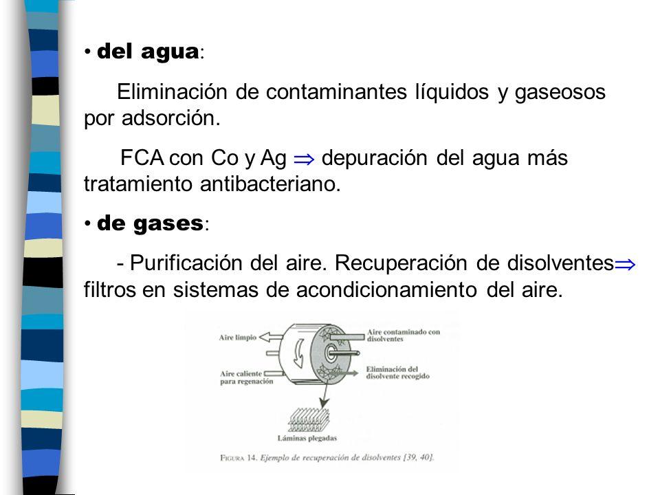 del agua : Eliminación de contaminantes líquidos y gaseosos por adsorción.