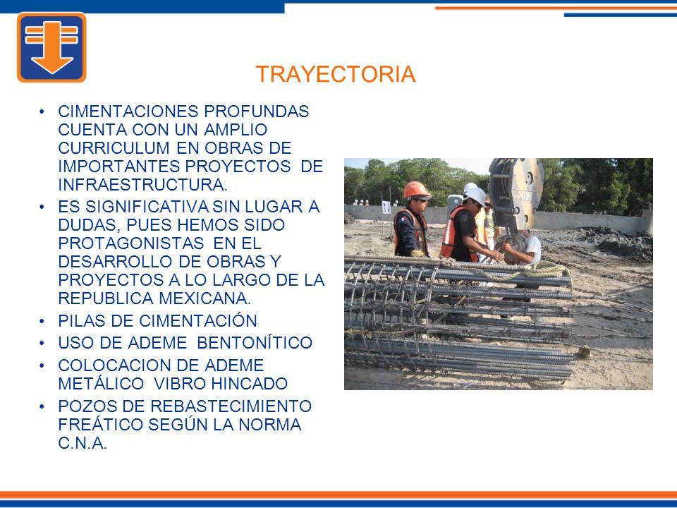 CIMENTACIONES PROFUNDAS CUENTA CON UN AMPLIO CURRICULUM EN OBRAS DE IMPORTANTES PROYECTOS DE INFRAESTRUCTURA.