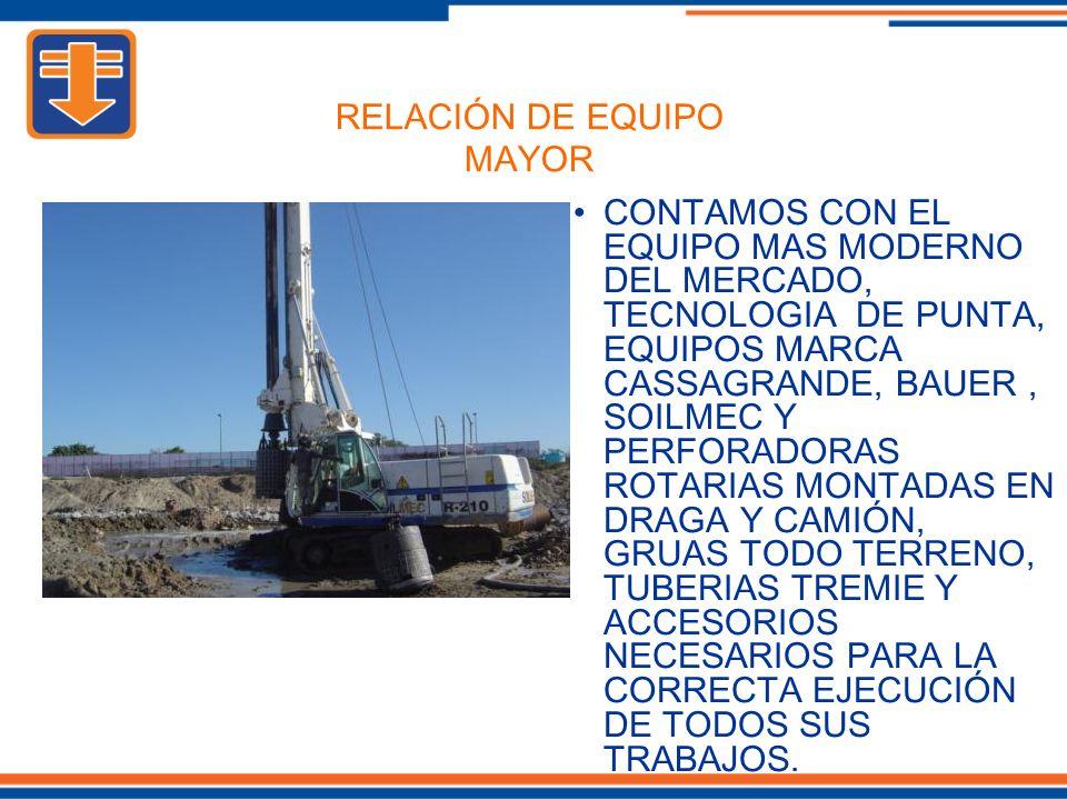 CONTAMOS CON EL EQUIPO MAS MODERNO DEL MERCADO, TECNOLOGIA DE PUNTA, EQUIPOS MARCA CASSAGRANDE, BAUER, SOILMEC Y PERFORADORAS ROTARIAS MONTADAS EN DRAGA Y CAMIÓN, GRUAS TODO TERRENO, TUBERIAS TREMIE Y ACCESORIOS NECESARIOS PARA LA CORRECTA EJECUCIÓN DE TODOS SUS TRABAJOS.
