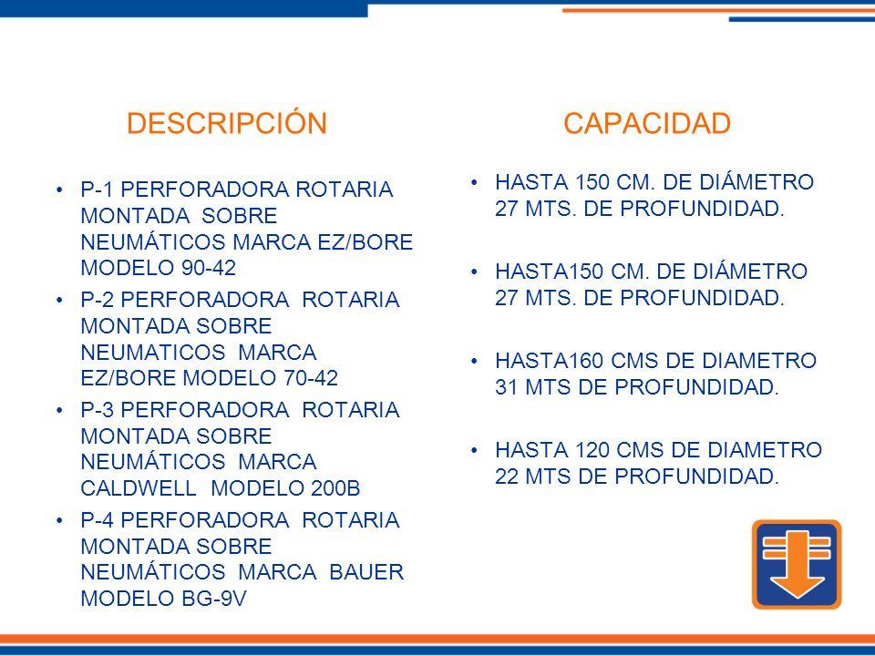 P-1 PERFORADORA ROTARIA MONTADA SOBRE NEUMÁTICOS MARCA EZ/BORE MODELO 90-42 P-2 PERFORADORA ROTARIA MONTADA SOBRE NEUMATICOS MARCA EZ/BORE MODELO 70-42 P-3 PERFORADORA ROTARIA MONTADA SOBRE NEUMÁTICOS MARCA CALDWELL MODELO 200B P-4 PERFORADORA ROTARIA MONTADA SOBRE NEUMÁTICOS MARCA BAUER MODELO BG-9V HASTA 150 CM.