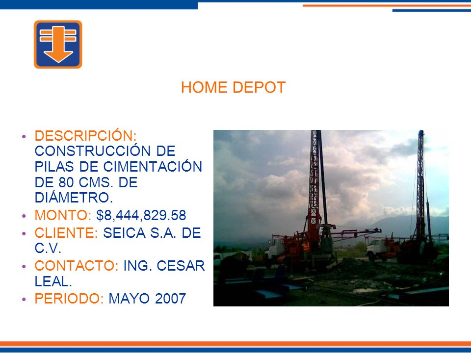 DESCRIPCIÓN: CONSTRUCCIÓN DE PILAS DE CIMENTACIÓN DE 80 CMS.