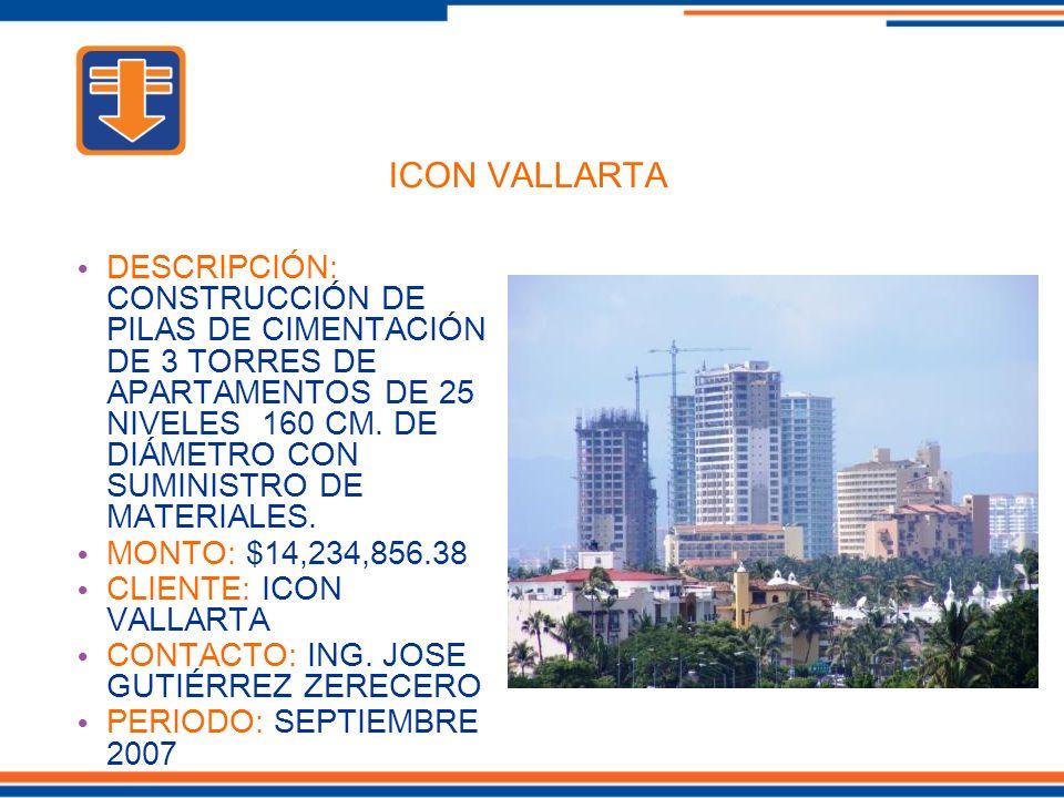 DESCRIPCIÓN: CONSTRUCCIÓN DE PILAS DE CIMENTACIÓN DE 3 TORRES DE APARTAMENTOS DE 25 NIVELES 160 CM. DE DIÁMETRO CON SUMINISTRO DE MATERIALES. MONTO: $