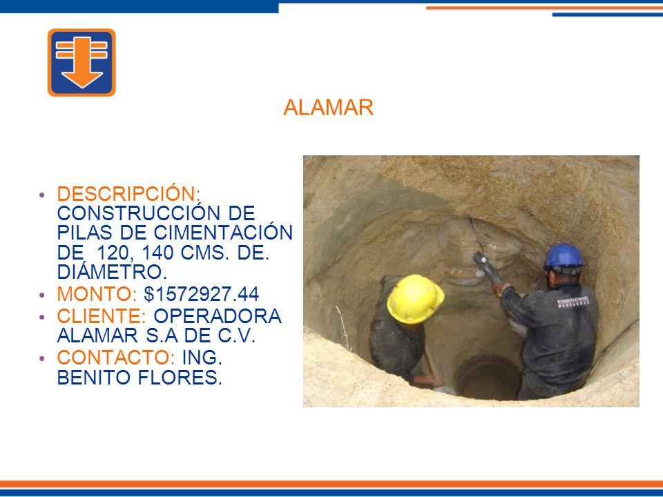 DESCRIPCIÓN: CONSTRUCCIÓN DE PILAS DE CIMENTACIÓN DE 120, 140 CMS.