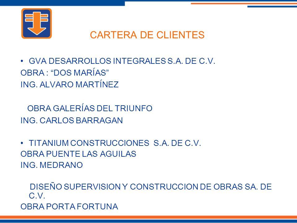 GVA DESARROLLOS INTEGRALES S.A. DE C.V. OBRA : DOS MARÍAS ING. ALVARO MARTÍNEZ OBRA GALERÍAS DEL TRIUNFO ING. CARLOS BARRAGAN TITANIUM CONSTRUCCIONES