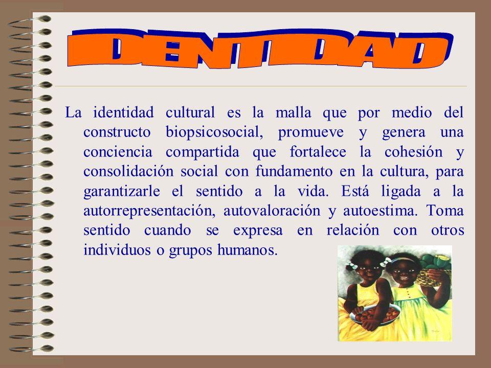 La identidad cultural es la malla que por medio del constructo biopsicosocial, promueve y genera una conciencia compartida que fortalece la cohesión y consolidación social con fundamento en la cultura, para garantizarle el sentido a la vida.