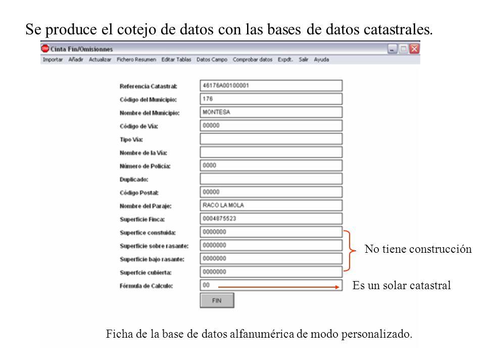 Se produce el cotejo de datos con las bases de datos catastrales.