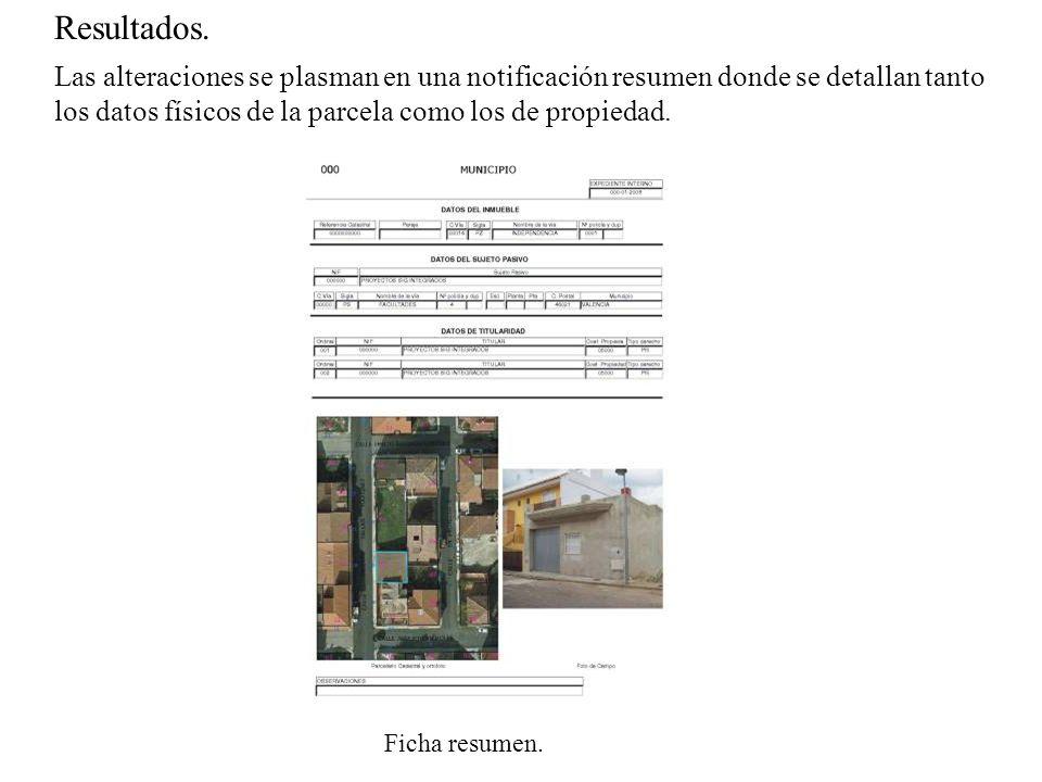 Resultados. Las alteraciones se plasman en una notificación resumen donde se detallan tanto los datos físicos de la parcela como los de propiedad. Fic