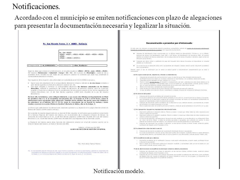 Notificaciones. Notificación modelo. Acordado con el municipio se emiten notificaciones con plazo de alegaciones para presentar la documentación neces
