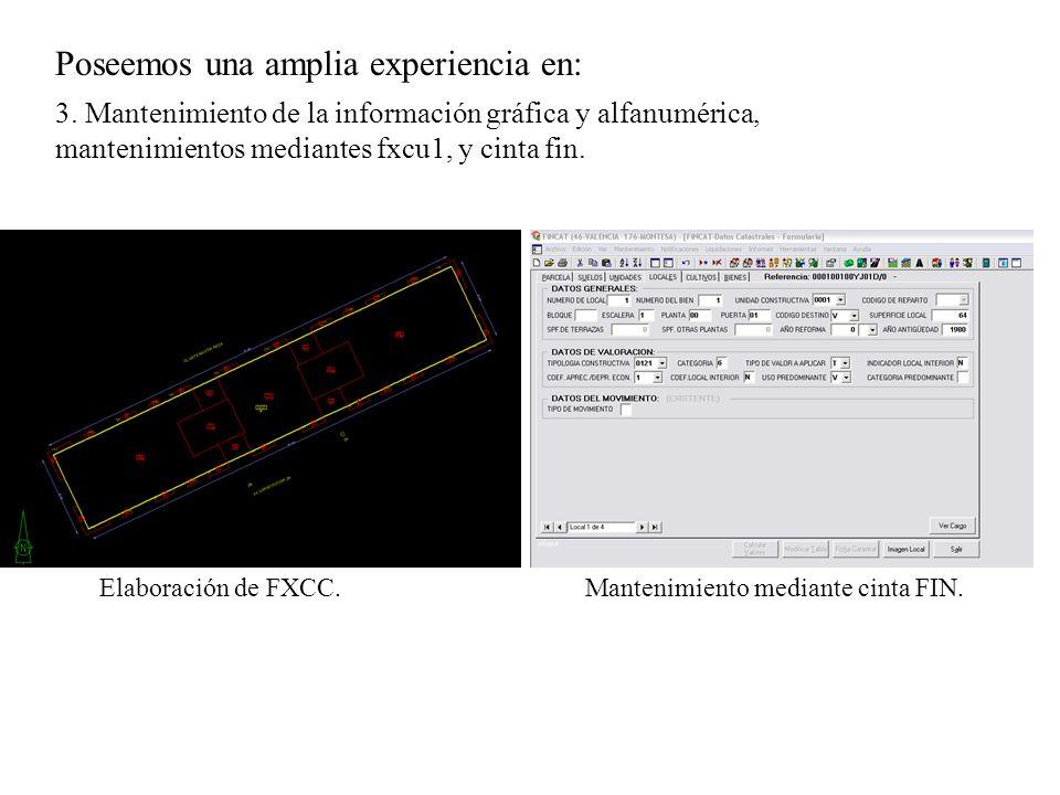 Poseemos una amplia experiencia en: 3. Mantenimiento de la información gráfica y alfanumérica, mantenimientos mediantes fxcu1, y cinta fin. Mantenimie