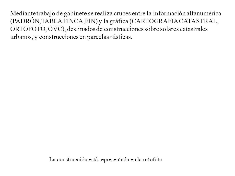Mediante trabajo de gabinete se realiza cruces entre la información alfanumérica (PADRÓN,TABLA FINCA,FIN) y la gráfica (CARTOGRAFIA CATASTRAL, ORTOFOT