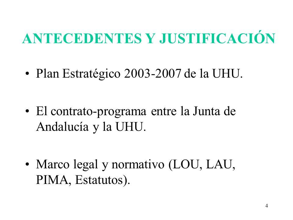 4 ANTECEDENTES Y JUSTIFICACIÓN Plan Estratégico 2003-2007 de la UHU. El contrato-programa entre la Junta de Andalucía y la UHU. Marco legal y normativ