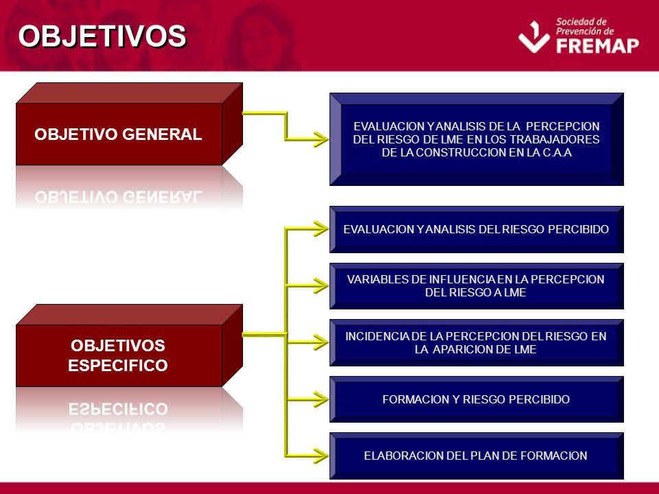OBJETIVOS EVALUACION Y ANALISIS DE LA PERCEPCION DEL RIESGO DE LME EN LOS TRABAJADORES DE LA CONSTRUCCION EN LA C.A.A EVALUACION Y ANALISIS DEL RIESGO PERCIBIDO VARIABLES DE INFLUENCIA EN LA PERCEPCION DEL RIESGO A LME INCIDENCIA DE LA PERCEPCION DEL RIESGO EN LA APARICION DE LME FORMACION Y RIESGO PERCIBIDO ELABORACION DEL PLAN DE FORMACION