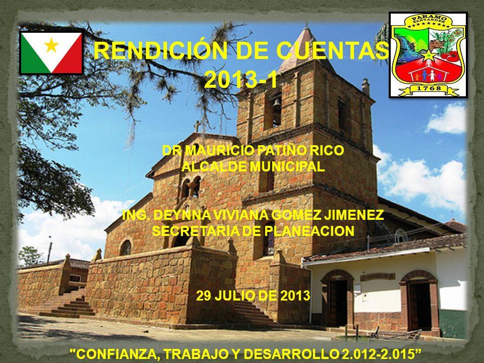 RENDICIÓN DE CUENTAS 2013-1 CONFIANZA, TRABAJO Y DESARROLLO 2.012-2.015 DR MAURICIO PATIÑO RICO ALCALDE MUNICIPAL ING.
