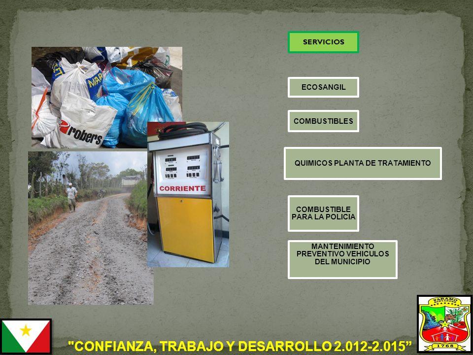 CONFIANZA, TRABAJO Y DESARROLLO 2.012-2.015 ECOSANGIL COMBUSTIBLES QUIMICOS PLANTA DE TRATAMIENTO COMBUSTIBLE PARA LA POLICIA SERVICIOS MANTENIMIENTO PREVENTIVO VEHICULOS DEL MUNICIPIO