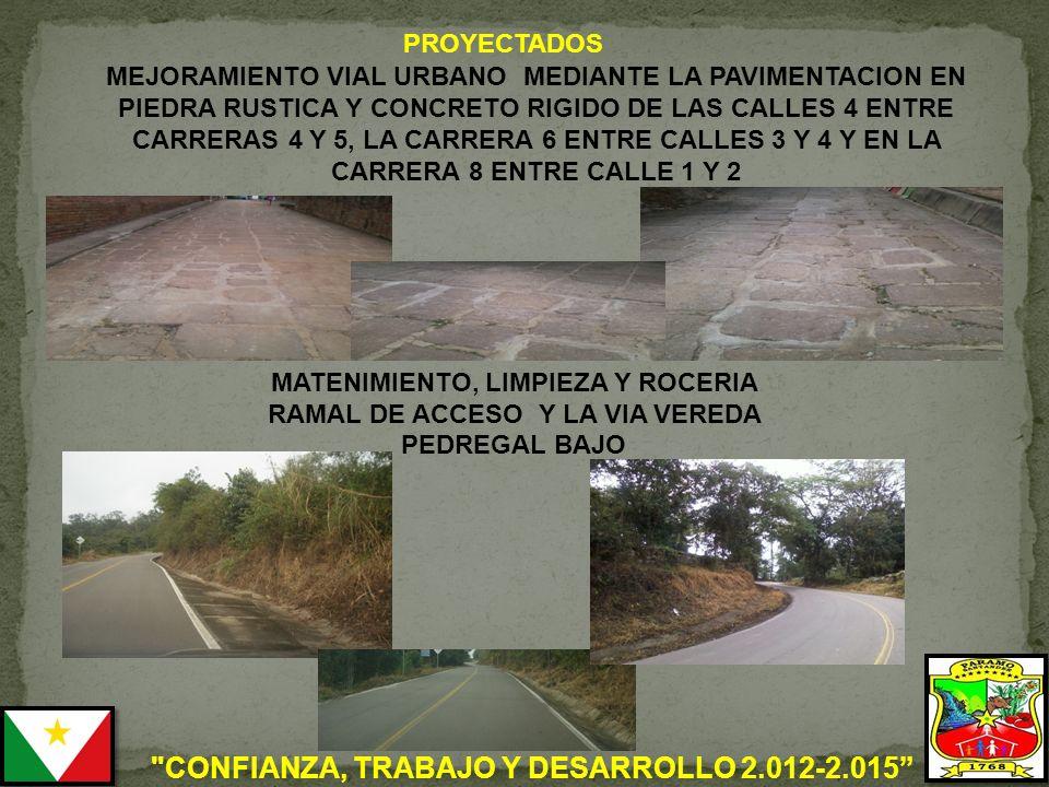 MATENIMIENTO, LIMPIEZA Y ROCERIA RAMAL DE ACCESO Y LA VIA VEREDA PEDREGAL BAJO PROYECTADOS MEJORAMIENTO VIAL URBANO MEDIANTE LA PAVIMENTACION EN PIEDRA RUSTICA Y CONCRETO RIGIDO DE LAS CALLES 4 ENTRE CARRERAS 4 Y 5, LA CARRERA 6 ENTRE CALLES 3 Y 4 Y EN LA CARRERA 8 ENTRE CALLE 1 Y 2