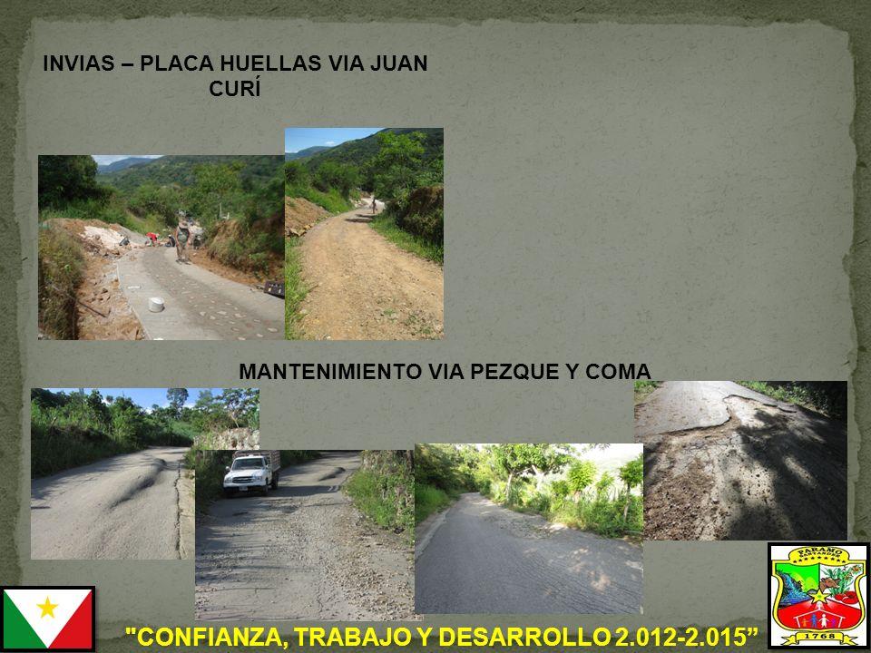 CONFIANZA, TRABAJO Y DESARROLLO 2.012-2.015 INVIAS – PLACA HUELLAS VIA JUAN CURÍ MANTENIMIENTO VIA PEZQUE Y COMA