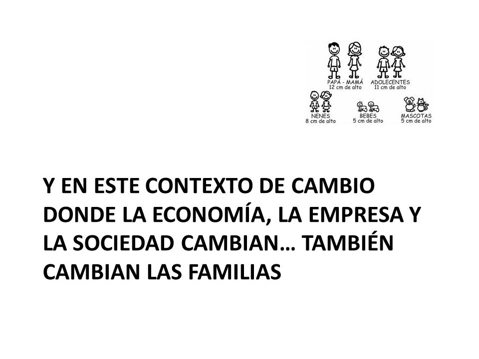 Y EN ESTE CONTEXTO DE CAMBIO DONDE LA ECONOMÍA, LA EMPRESA Y LA SOCIEDAD CAMBIAN… TAMBIÉN CAMBIAN LAS FAMILIAS