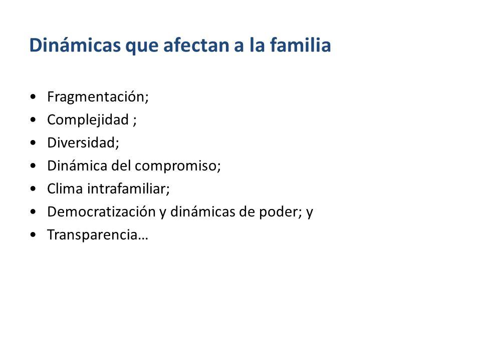 Dinámicas que afectan a la familia Fragmentación; Complejidad ; Diversidad; Dinámica del compromiso; Clima intrafamiliar; Democratización y dinámicas de poder; y Transparencia…