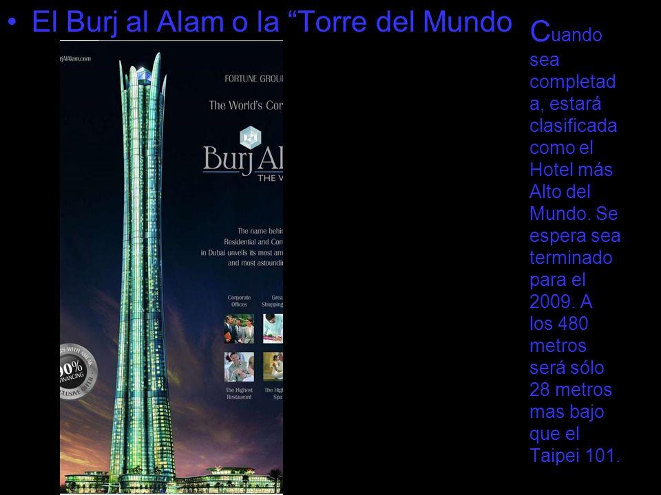 C uando sea completad a, estará clasificada como el Hotel más Alto del Mundo. Se espera sea terminado para el 2009. A los 480 metros será sólo 28 metr