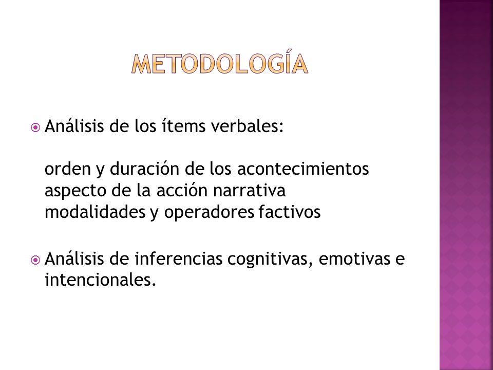 Análisis de los ítems verbales: orden y duración de los acontecimientos aspecto de la acción narrativa modalidades y operadores factivos Análisis de i