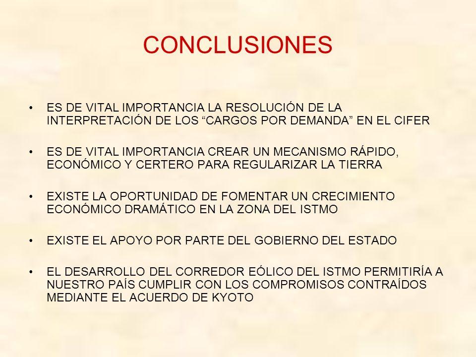 CONCLUSIONES ES DE VITAL IMPORTANCIA LA RESOLUCIÓN DE LA INTERPRETACIÓN DE LOS CARGOS POR DEMANDA EN EL CIFER ES DE VITAL IMPORTANCIA CREAR UN MECANISMO RÁPIDO, ECONÓMICO Y CERTERO PARA REGULARIZAR LA TIERRA EXISTE LA OPORTUNIDAD DE FOMENTAR UN CRECIMIENTO ECONÓMICO DRAMÁTICO EN LA ZONA DEL ISTMO EXISTE EL APOYO POR PARTE DEL GOBIERNO DEL ESTADO EL DESARROLLO DEL CORREDOR EÓLICO DEL ISTMO PERMITIRÍA A NUESTRO PAÍS CUMPLIR CON LOS COMPROMISOS CONTRAÍDOS MEDIANTE EL ACUERDO DE KYOTO