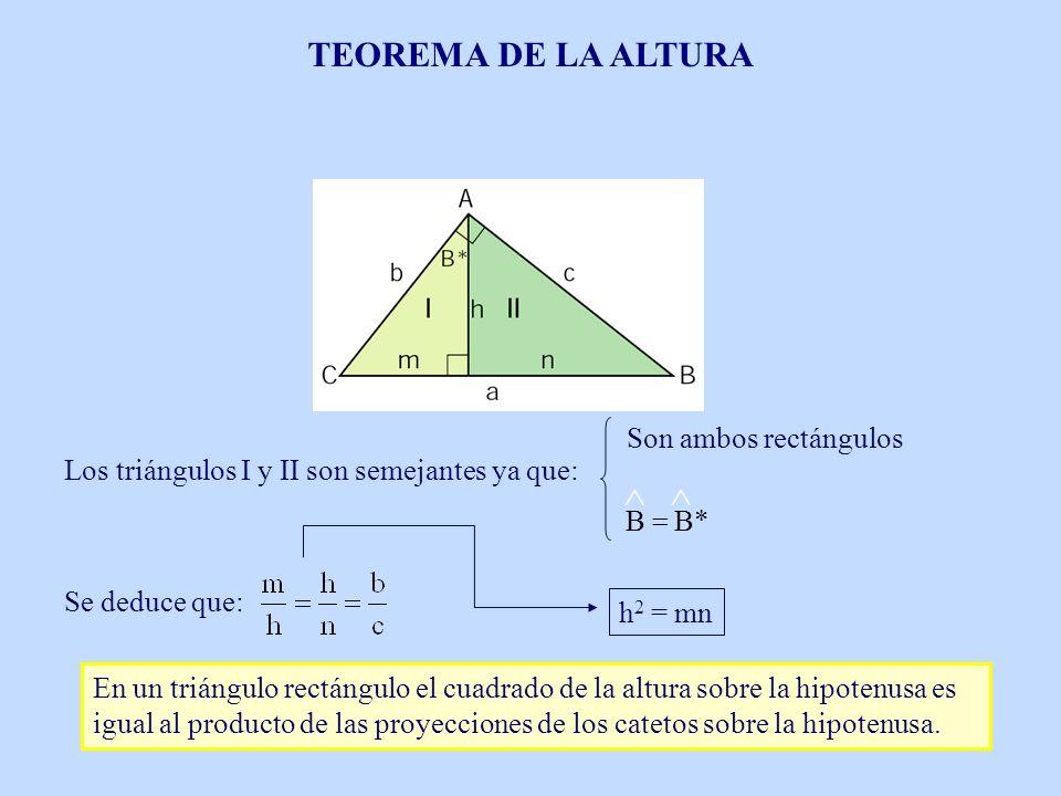 Los triángulos I y II son semejantes ya que: Se deduce que: h 2 = mn En un triángulo rectángulo el cuadrado de la altura sobre la hipotenusa es igual