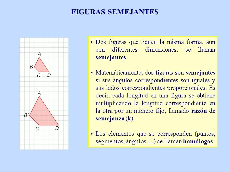 FIGURAS SEMEJANTES Dos figuras que tienen la misma forma, aun con diferentes dimensiones, se llaman semejantes. Matemáticamente, dos figuras son semej