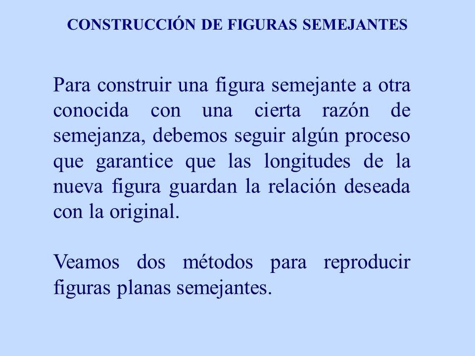 CONSTRUCCIÓN DE FIGURAS SEMEJANTES Para construir una figura semejante a otra conocida con una cierta razón de semejanza, debemos seguir algún proceso