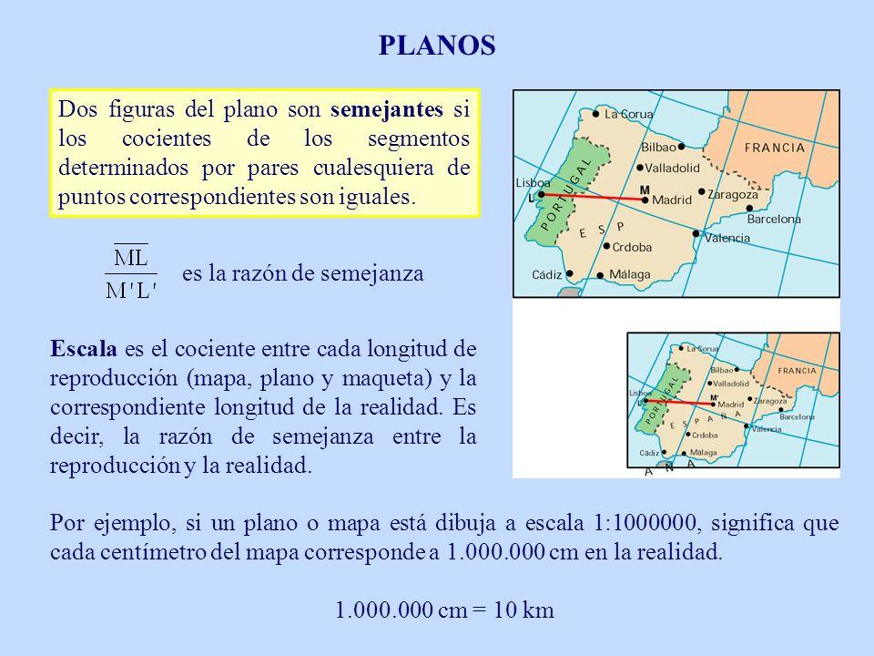 Dos figuras del plano son semejantes si los cocientes de los segmentos determinados por pares cualesquiera de puntos correspondientes son iguales. es