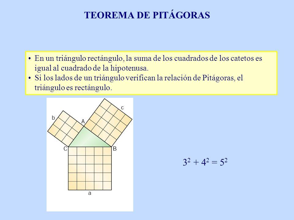 En un triángulo rectángulo, la suma de los cuadrados de los catetos es igual al cuadrado de la hipotenusa. Si los lados de un triángulo verifican la r