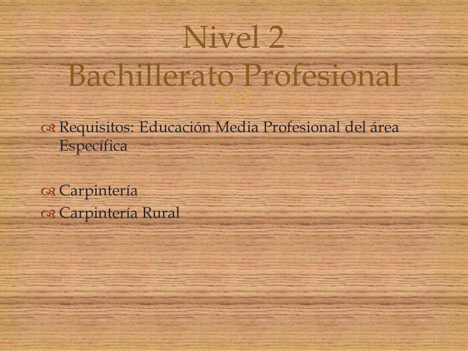 Requisitos: Educación Media Profesional del área Específica Carpintería Carpintería Rural Nivel 2 Bachillerato Profesional